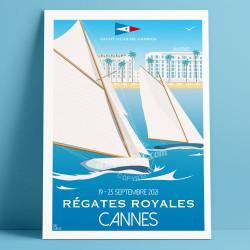 Affiche officielle des Régates Royales 2021 de Cannes par Eric Garence, Côte d'Azur France rétro vintage illustration dessin niç