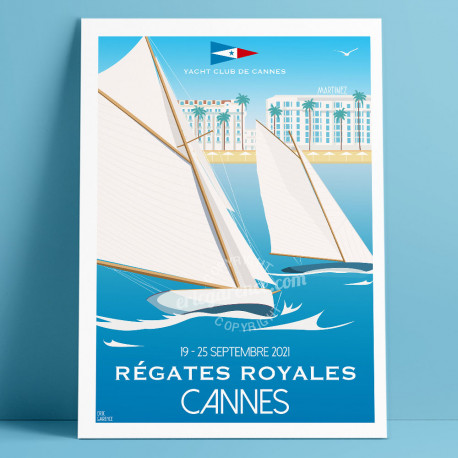 Official Poster of Cannes Régates Royales 2021 by Eric Garence Cannes by Eric Garence, French Riviera french made in France deco