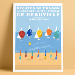 Régates de Dragon de Deauville, 2019 - Affiche Officielle by Eric Garence