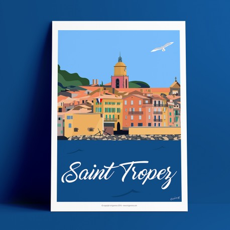 Poster Saint Tropez vue Mer by Eric Garence, Provence French Riviera var travel memories holydays Pinup jet set sailboat yacht r